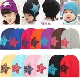 Wholesale Bonnet Enfant - Girl Boy baby Hat Stars Printing Cap Kids Soft Cotton bonnet enfant Cotton Soft Star Hat Beanies Baby Hats winter Hat KKA2229