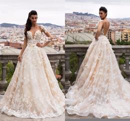 турецкие длинные платья Скидка 2017 шампанское кружева бальное платье Свадебные платья Турция с длинными рукавами арабские свадебные платья Vestido де Noiva манга Sexy Backless Bride Dress