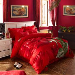 Wholesale Big Rose Bedding - red Rose big flower 3d print wedding bedding sets Queen Double King size bedclothes 100% Cotton duvet cover set romantic gift