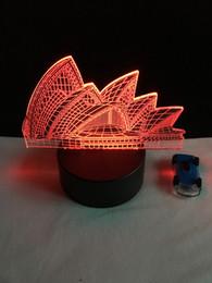 Wholesale Novelty Usb Mice - Amazing 7 Color Changing Night Light Indoor Sydney Opera House 3D night light australia led bulb USB Novelty Light For gifts