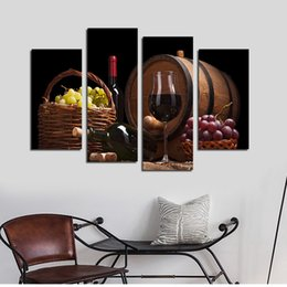 Wholesale wine canvas art for walls - 4pcs set Unframed Red Wine and Grapes HD Print On Canvas Wall Art Picture For Home and Living Room Decor