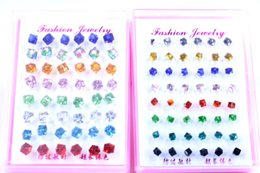 Wholesale Plastic Flowers Design - Free Shipping Fashion Jewelry Shining Colorful Crystal Cube Design Anti Allergy Plastic Stick Stud Earrings 4mm 6mm 120pairs lot