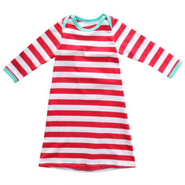 Wholesale Baby Red Stripe Dress - Newborn baby Christmas Gown girls boys romper infant red white stripe long sleeve long dress babies cotton pajamas christmas clothe R0147