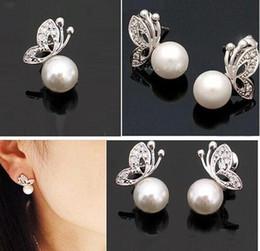 Wholesale Ear Stud Butterfly - Quality Ladies Womens Lovely Pearl Rhinestone Butterfly Design Earrings Ear Stud Ear jewelry Free Shipping C29