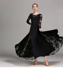 Wholesale Ballroom Skirt Long - 4Color 2017Modern dance dress long sleeved lace Waltz quickstep Tango Foxtrot costume competition clothing standard ballroom dance skirt