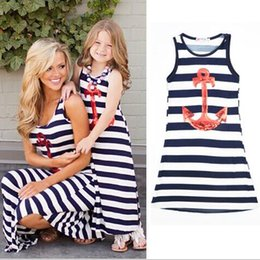 Wholesale Striped Color Matching - 2017 Matching Mother and Daghter Family Clothing Kids Girls Striped Dress Baby Girl Sequins Anchor Dress Kids Summer clothes