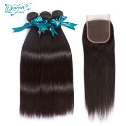 Wholesale 8a Unprocessed Virgin Hair - Brazilian Weave 3 Bundles With Closure Straight 8a 3 Part Closure Virgin Unprocessed With Bundles queen love Hair With Closure And Bundles