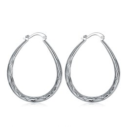 Wholesale Sterling Silver Hoop Earrings Women - Fashion 925 Sterling Silver EARRINGS Stripes Oval Hoop Earrings Amazing Big Hoops Ladies Women Earring Hot Sale