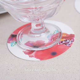 Wholesale European Style Wedding Favors - Wholesale- free shipping 120pcs lot European style round paper rose coaster wedding coaster favors party table decoration supplies