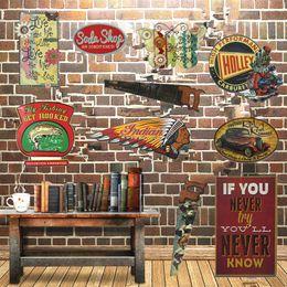 stagno scarpa Sconti All'ingrosso-Indiano moto segni di metallo sega sega segni pub bar garage vintage decorazione retrò tonalità irregolare piastra metallica sul muro