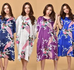 Wholesale Butterfly Robes - Peacock Robe Dress Gown Sleepwear Bathrobe Dress Elegant Women Butterfly Sleeves Silk Sleepwear Robe Casual Nightwear 50pcs KKA1823