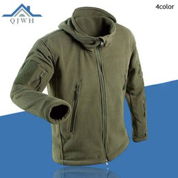 Wholesale Turtleneck Jacket Men - Wholesale- Winter 2016 Outdoors Tactical Cargo Zipper Pocket Sharkskin Soft Shell Warm Thelmal TAD Fleece Hoodies Cargi Army Jacket Men