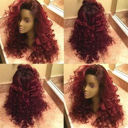 Wholesale T1b Wig - 7A Ombre T1b 99J Human Hair Wig Brazilian Hair Glueless Full Lace Wig Ombre Lace Front Human Hair Wigs For Black Women