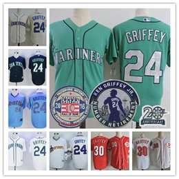 Wholesale Throwback Baseball Jerseys S - Mens Seattle Mariners 24 Ken Griffey Jr green cream Cincinnati Reds 30 white Red throwback stitched 2016 hall of fame Retirement jerseys