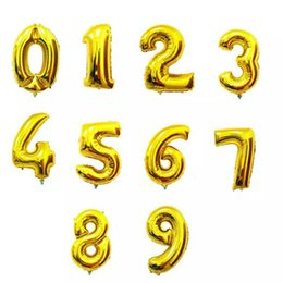 Wholesale Balloon Decor Supplies - HEY FUNNY 1 pc 30 inch Gold Silver Number Foil Balloons LOVE Ballons for Birthday Party Wedding Decor Event Party Supply