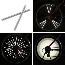 Wholesale Wheel Reflector - 12pcs Reflective Mount Clip Tube Warning Strip Bicycle bike Wheel Spoke Reflector mountain rear bike reflector light