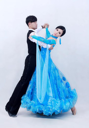 Wholesale Dresses For Ballroom - 2017 big pendulum Modern dance dress customize professional blue red Waltz Tango Ballroom Dance Costume for competition practice dancewear
