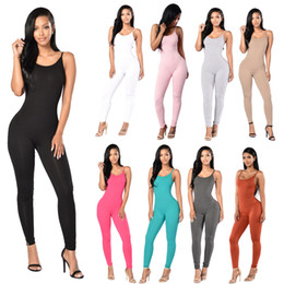 Wholesale One Piece Ladies Clothes - Rompers for Women Ladies Jumpsuits Women One Piece Sports Jumpsuit Women Casual Clothes 12 Colors Size 4-12 Drop Shipping