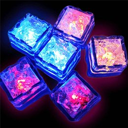 Wholesale Festive Lights Wholesale - Mini Romantic Luminous Cube Artificial Flash LED Light Festive Party Wedding Christmas Decoration Water Sensor Sparkling LED Ice Cubes
