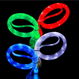 Wholesale Iphone Chargers Ft - 1m 3 FT flat noodle LED light micro usb Data Sync Charger cable type C cable for Smart Cell phones Tablet PC data cable USZ025
