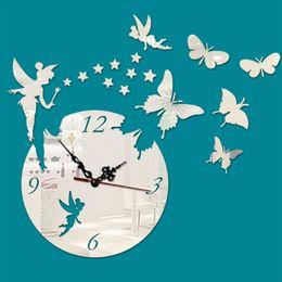 Papillon horloge murale design moderne en Ligne-En gros-Nouveau Art créatif de mode acrylique 3D grand papillon horloge murale Design moderne Home Decorative Diy Hall Hall Bureau Chambre reloj