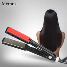 Wholesale min display - 7 Shape Design Steam Hair Straightener,Titanium Plate MCH Fast Heating Hair Straightener Iron,LED Digital Display Straightening Hair Tools