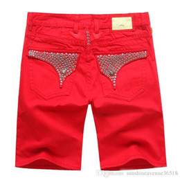 Wholesale Size 48 White Jeans Men - Wholesale-Free Shipping Summer Men's Designer Short Jeans Mens Robin Jean Cowboy Denim Short Pants
