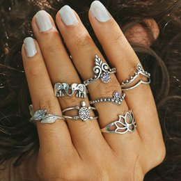 Wholesale Elephant Ring Gold White - 7pcs  set New Vintage Silver Color Hollow Lotus Elephant Leaf Rings For Women Boho Style Purple Gemstone Knuckle Ring Jewelry HZ