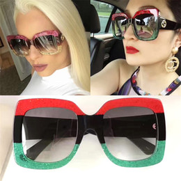 Wholesale Glasses Mix Color - Square Fashion Sunglasses for Women Brand Designer with Package Free Shipping Sun Glasses 3 Color Red Green Sunglasses 2017 New for Summer