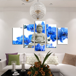 Wholesale Large Abstract Wall Paintings - (No Frame) 5 Panel Large orchid background Buddha Painting Fengshui Canvas Art Wall Pictures for Living Room Home Decor