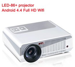 Wholesale Projector 3d Full Hd - Android 4.4.2 Full HD LED Daytime LCD 3D Wifi Smart Projector 5500 lumens proyector Beamer LED-86+ Lamp business cinema better than LED-86
