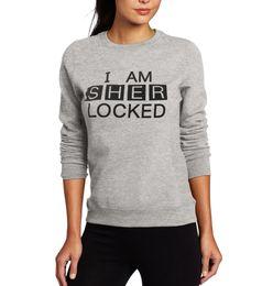 Wholesale Neck Lock - Wholesale- Simple Style I Am Sher Locked Sherlock Holmes Print Tracksuit Women Sweatshirt Popular TV Series Sherlock Holmes Autumn Hoodies