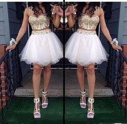 Wholesale Spaghetti Strap Prom Ball Gowns - Two Piece Ball Gown Homecoming Dresses With Gold Beaded Straps Tulle White Spaghetti Short Prom Dresses Sweetheart Prom Gowns