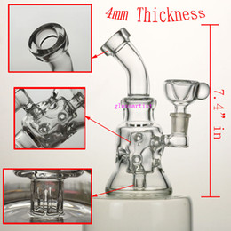"""Wholesale Oil Thickness - 7.4""""in Hollow out glass bong 4mm thickness good function ,14.5mm female joint oil rigs have 14.5mm bowl."""