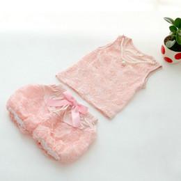 Wholesale Top Blouse Pant Set - Wholesale- Pearl Decor Pink Kids Newborn Rose Blouse Tops Bowknot Short Pants Infant Girls Clothes Sets Outfits