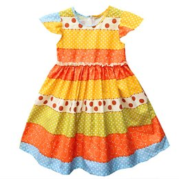 Wholesale Kids Colorful Ball Gown - Girls Dress Summer Wedding Dress Baby Girl Litter Girls Clothes Costume For Kids Party Dresses Princess Birthday Dress Colorful Stripe dot