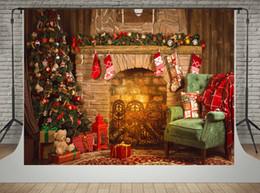 Backstein foto hintergrund online-Kate Microfiber Material Backdrops für Fotograf Brick Kamin Hintergrund Nacht Weihnachtsbaum Photo Booth Props