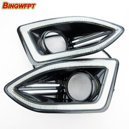 Daytime Running Lights Accessories With Fog Lamp Hole V Led Car Drl For Ford Edge