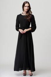 Wholesale Ethnic Clothing Muslim - HOT SALE!2016 New Natural Full Fashion Muslim Dresses Female Islamic Garment Five Colors Ethnic Clothing Long Dress