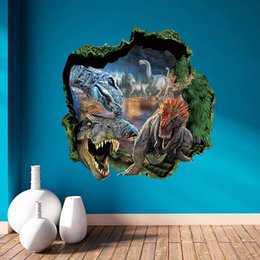 Wholesale Dinosaur Wall Decor For Kids - Cartoon Wallpapers for kids Decor 3D Dinosaur Removable Bedroom background decoration PVC High Quality Vinyl Wall Stickers