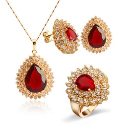 Wholesale Yellow Gold Ruby Ring - Magnificent 18k Yellow Gold Plated Ruby Drop Jewelry Set Women's Teardrop Pendant Necklace Charm Finger Ring Stud Earring Set
