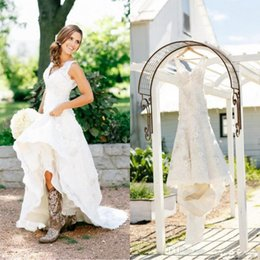 Wholesale White Bridal Boots - 2017 Rustic Cowgirl Boots Lace Wedding Dresses Boho Country Bridal Dresses Applique Wedding Gowns V-Neck Bohemian Wedding Gowns Custom Made
