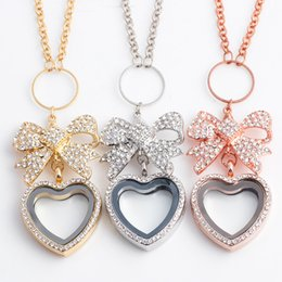 Wholesale Platinum Heart Shaped Necklace - Butterfly Heart-shaped Full of Crystal Flolating Locket necklace alloy collar choker necklace for women and girls ER365