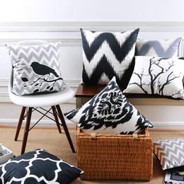 Almohada negra blanca aves online-Tree Birds Funda de cojín blanco y negro geométrica moderna Supersoft funda de almohada 8 estilos fundas de almohada bebé dormitorio sofá decoración