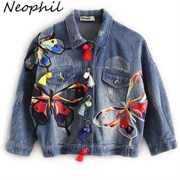 Wholesale Embroidery Butterfly Patch - Wholesale- Neophil 2016 Fall Winter High Waist Women Ripped Short Denim Jackets Ladies Tassel Patches Butterfly Embroidery Jean Coat C08029