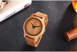 Wholesale Bamboo Band - Bamboo Wooden stylish leather band Men's Watch free shipping
