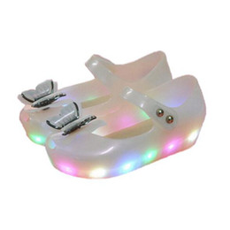 Wholesale Butterfly Latex - Baby Girls Sandals Toddler Infant Shoes LED Lights Jelly Princess Shoes PVC Soft Comfortable Glowing Summer cinderella butterfly Shoes