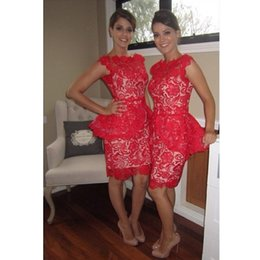 Wholesale Knee Length Sexy Trumpet Wedding - Red Lace Bridesmaid Dresses 2017 Sheath Backless Knee Length Short Summer Spring Garden for Girls Wedding Party Sexy Simple Vestido De Noiva
