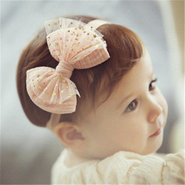 Wholesale Cute Babies Children Photo - Baby Headbands Korean Flowers Five-Pointed Star Lace Elastic Headbands Kids Girls Cute Hairbands Children Hair Accessories Photo Prop KHA07