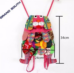Wholesale Cotton Bag Packaging - 11 Colors Chinese Ethnic Character Cloth Handmade Dog Backpacks Children Package Kids Girls Fashion School Bags Chinese Characteristics